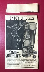 1939 Miller High Life Beer Bottle Print Ad W/ Football Player Milwaukee Wi 6.5x4