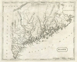 Maine State Map By Arrowsmith And Lewis 1812 Old Antique Vintage Plan Chart