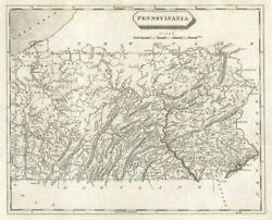 Pennsylvania State Map By Arrowsmith And Lewis 1812 Old Antique Plan Chart