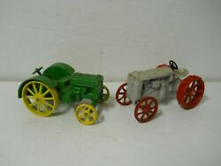 X2 Vintage John Deere Model D And Fordson Model F Tractors 1/16 Scale Metal Toys