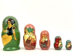 Vintage Set Of 5 Disney's Snow White And The Seven Dwarfs Russian Nesting Dolls