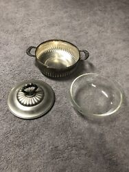 Vintage English Silver Mfg Corp. Made In Usa Serving Bowl W/glass Bowl And Cover