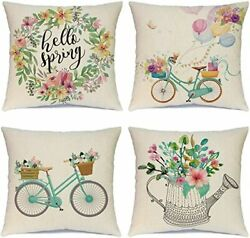 Set Of 4 Decorative Pillowcases Cotton Cushion Covers 16 X 16