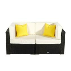2 Pieces Furniture Patio Set Rattan Wicker Corner Sofa Sectional Couch Loveseat