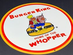 Vintage Burger King Home Of The Whopper 12 Metal Fast Food Gasoline And Oil Sign