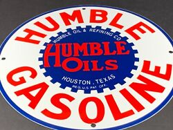 Vintage Humble Oils And Gasoline Houston Texas 12 Porcelain Metal Gas And Oil Sign