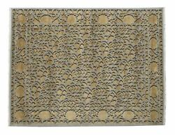 Hand Knotted Silk 3d Floral Rug 10.2 X 7.11 Feet Soft Carpet The Rug Company