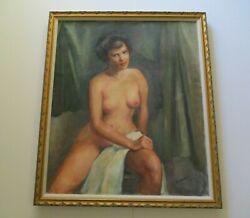 Antique Nude Model Painting 1930's Goddard Pretty Large Female Woman Art Deco