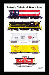 Detroit And Toledo Shore Line 11x17 Poster In 12x18 Mat Andy Fletcher Signed