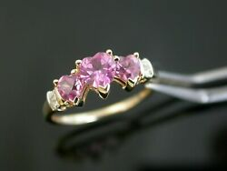 14k Yellow Gold Finish 3.00ct Heart Cut Pink Sapphire And Diamond Engagement Ring