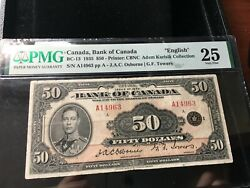 1935 Osb/tow Canada 50 Note Pmg Vf-25 Sn A14963 English