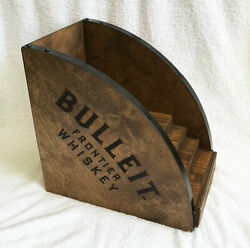 New Bulleit Bourbon Frontier Whiskey Wood Bottle Stand Display Burned Logo Heavy