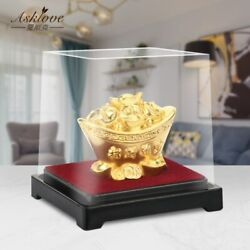 Chinese Gold Ingot Desk Ornaments Fengshui Decor Mascot 24k Gold Leaf Yuanbao Mi