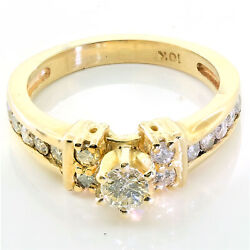 10k Yellow Gold 0.51ct Ladies Accented Solitaire Style Engagement Ring