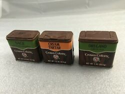 Lot Of 3 Vintage 1980's Crown Colony Spice Tin Can Wood Grain Style Classics. B1