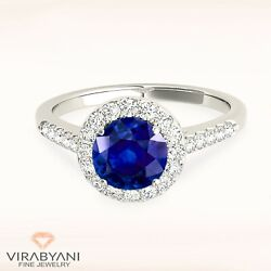 1.30 Ct Genuine Blue Sapphire Ring 14k White Gold   Delicate Halo Gemstone Ring