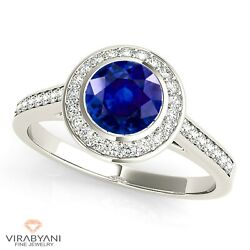 1.35 Ct. Natural Blue Sapphire Halo Ring With 0.25 Ctw. Diamond 14k White Gold