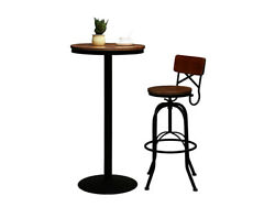 Autuluna Bar Table Wood Top With Metal Leg And Base