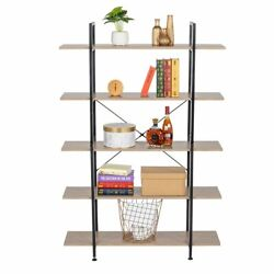 5-tier Industrial Bookcase And Book Shelves Vintage Wood And Metal Bookshelves