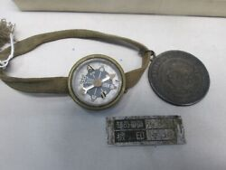 Antique Wwii Imperial Japanese Wrist Compass And Chinese Memento Silver Dollar