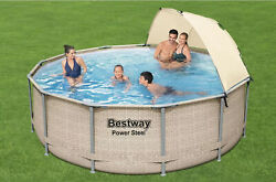 ✅bestway Power Steel 13and039 X 42 Round Above Ground Pool Set With Canopy-free Ship