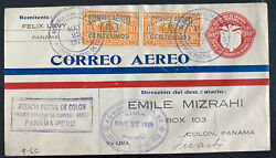 1929 Colon Canal Zone Panama First Flight Airmail Cover To Lima Peru 162 Flown