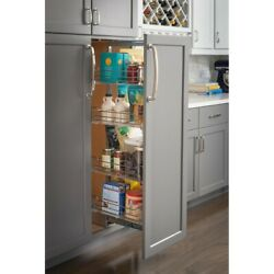 15 Inch Wide Pantry Cabinet Rollout 4 Shelves Organizer Soft Close Chrome Drawer