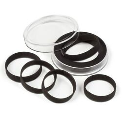 2 Lighthouse Large Adjustable Black Ring Capsules For 29-76mm Coins