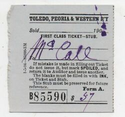 1904 Ticket From The Toledo Peoria And Western Railway To Mccall