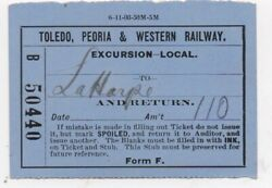 1903 Ticket From The Toledo Peoria And Western Railway To Laharpe