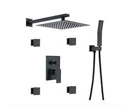 Waterfall Top Spray Wall Bathroom Shower with Black 4 Side Spray Hot amp; Cold Body
