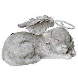 Solar Sleeping Dog With Halo And Angel Wings Memorial Garden Statue, 12 By 7 Inc
