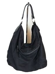 HOBO INTERNATIONAL Black Nylon W Leather Strap Hobo Shoulder Bag Purse $40.00