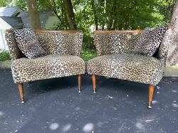 Vintage Pair Adrian Pearsall Lounge Chairs Club Barrel Serpentine Kagan Bilbao