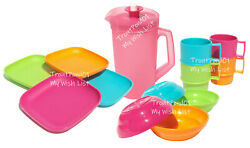 Tupperware Childrenand039s Mini Party Plates Mugs Bowls Pitcher Pink Green Blue New