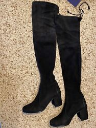 Stuart Weitzman Womens Leather Round Toe Over The Knee Boots Black Size 8