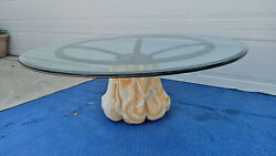 Rare Vintage Hand Carved Quartz Base Wrought Iron Round Coffee Table Glass Top