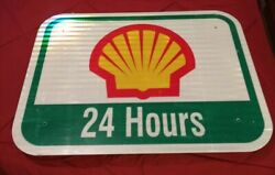 Collectible Shell Gas Station / Motor Oil Interstate Metal Advertising Sign Used
