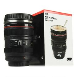Camera Lens Cup Coffee Travel Mug Thermos Stainless Steel Leak-proof Lid 24-105