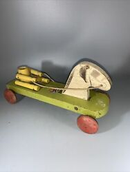 Vintage Early Wooden Pull Toy / Hustler Toy Corp. Horse