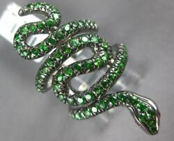 Extra Large 1.99ct Aaa Tsavorite And Aaa Ruby 14kt Black Gold 3d Snake Fun Ring