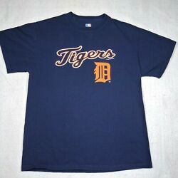 Detroit Tigers Shirt Adult Large Blue Logo Spell Out Baseball Mlb Authentic Mens