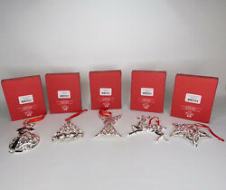 5 Lenox Sparkle And Scroll Silverplate Clear-crystal Ornament Variety Christmas
