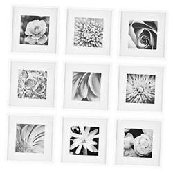 Gallery Wall Kit Square Photos with Hanging Template Picture Frame Set White