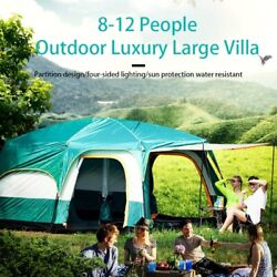 Glamping Large Tent Waterproof Double Layer 6-12 Person 2bedroom Outdoor Camping
