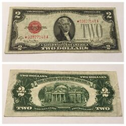Vintage Two Dollar 2 Star 1928-g United States Note Red Seal Jefferson Bill Usn