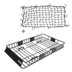 64and039and039 Universal Roof Rack W/extension Cargo Suv Top Luggage Carrier Basket + Net
