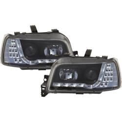 Headlight Set For Renault Clio I Type 57 Yr 91-96 Led Clear Glass/black 1003011
