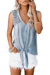 Light Blue Crochet Lace V Neck Button Front Tie Waist Boho Tank Top LARGE 12 14