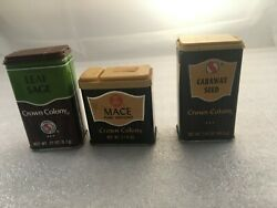 Lot Of 3 Vintage 1980's Crown Colony Spice Tin Can Wood Grain Style Classics. H3